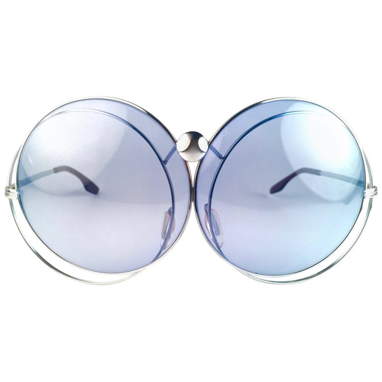 New Rare Vintage Christian Dior Oversized Silver Metal Round Sunglasses 1970's For Sale