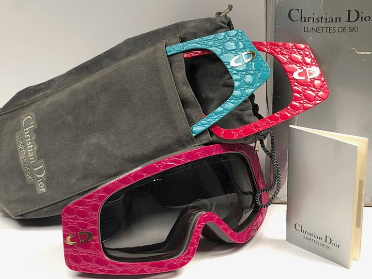 New, Full Set Vintage Christian Dior Ski Sunglasses with three different changeable fronts from the