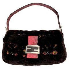 New Rare Vintage Fendi Fur Beaded Lizard Chocolate Baguette Bag