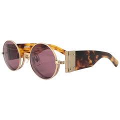 New Rare Vintage Kenzo Hinged Tortoise Foldable Silver Sunglasses 1980's
