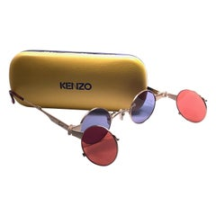 New Rare Vintage Kenzo KE2876 Hinged Gold Sunglasses 1980's Made in Japan