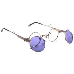 New Rare Vintage Kenzo KE2876 Hinged Silver Sunglasses 1980's