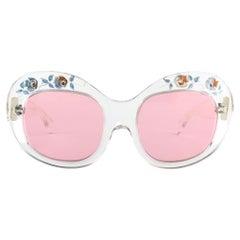 New Rare Vintage Philippe Chevallier Clear Flowers Elton John 1960's Sunglasses