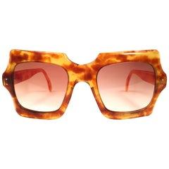 New Rare Vintage Philippe Chevallier Light Tortoise Oversized 1960's Sunglasses