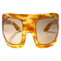 New Rare Vintage Philippe Chevallier Mask Tortoise Oversized 1960's Sunglasses