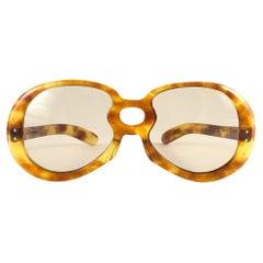 New Rare Vintage Philippe Chevallier Medium Tortoise Oversized 1960's Sunglasses