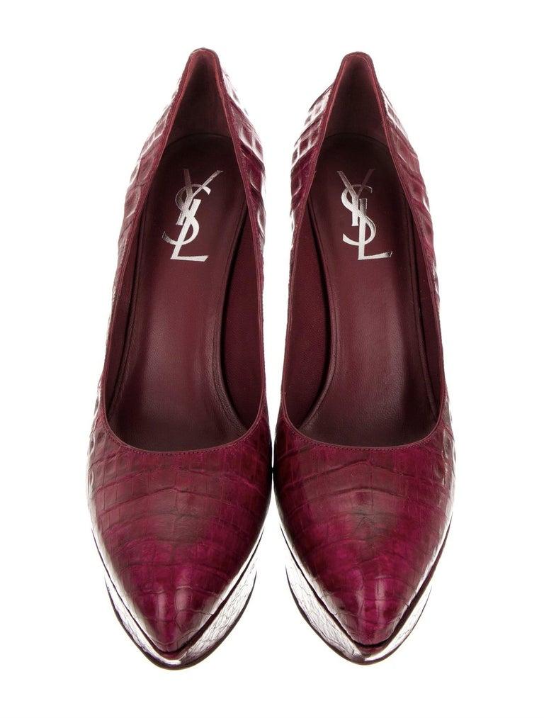 New Rare Yves Saint Laurent YSL Imperiale Crocodile Heels Pumps 2009 Sz 39 For Sale 1
