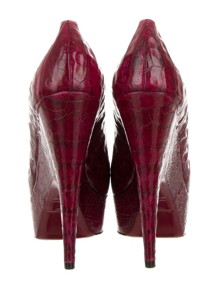 New Rare Yves Saint Laurent YSL Imperiale Crocodile Heels Pumps 2009 Sz 39 For Sale 3
