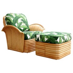 Rattan Fan Arm Lounge Chair with Ottoman Set