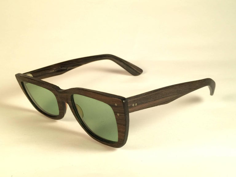 Beige New Ray Ban Caribbean 1960's Mid Century Wood Green Lenses B&L USA Sunglasses For Sale