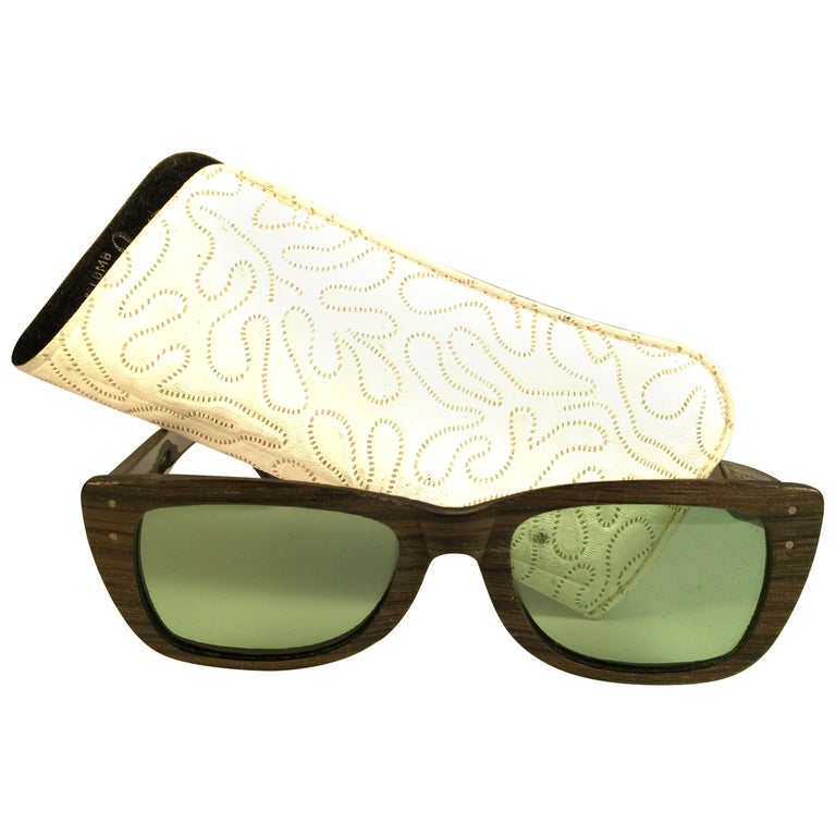 New Ray Ban Caribbean 1960's Mid Century Wood Green Lenses B&L USA Sunglasses For Sale