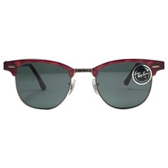 New Ray Ban Clubmaster Deep Red & Gold Edition G15 Lens B&L USA 80's Sunglasses
