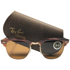 New Ray Ban Clubmaster Tortoise & Gold Edition B15 Lens B&L USA 80's Sunglasses