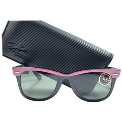 New Ray Ban The Wayfarer Candy Pink / Black B&L Grey Lenses USA 80's Sunglasses