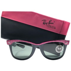 New Ray Ban The Wayfarer Fuchsia / Black B&L G15 Grey Lenses USA 80's Sunglasses