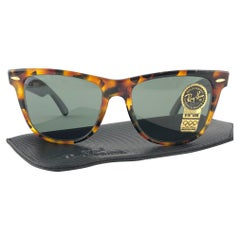 New Ray Ban The Wayfarer II Tortoise G15 Grey Lenses USA 80's Sunglasses