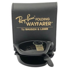 New Ray Ban Wayfarer Folding 1980's Black Grey G15 Lenses B&L USA Sunglasses