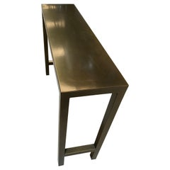New Rectangular Gilded Iron Console Table with Metal Top