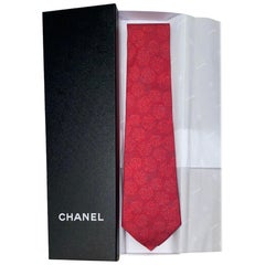 NEW Red Chanel Camellia Print Jacquard Silk Tie