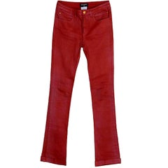 NEW Red Chanel Stretch Denim Jeans Pants CC Logo Pockets