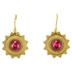 New Red Stone Vermeil Star Shape Lever Back Earrings
