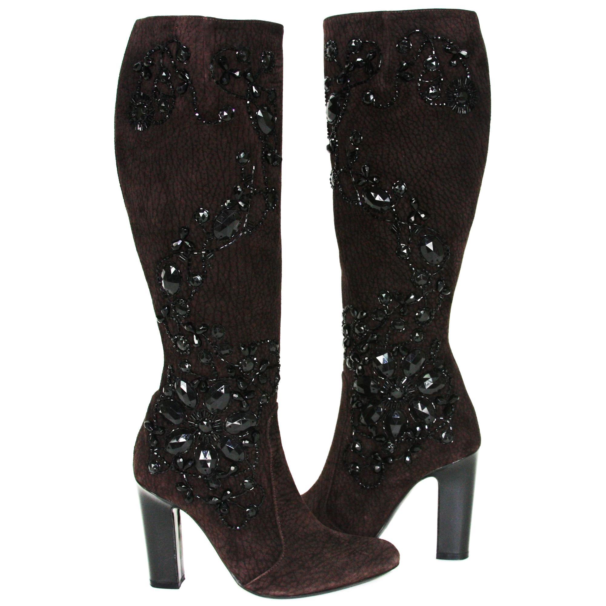 New Rene Caovilla Beaded Chocolate Suede Knee Heel Boots It 36.5 - US 6.5