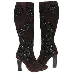 New Rene Caovilla Beaded Chocolate Suede Knee Heel Boots It 36.5 - US 6.5