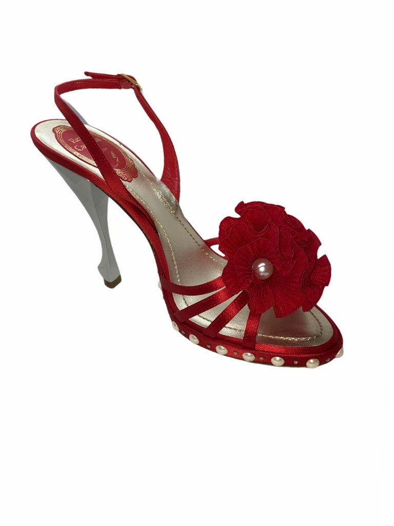 Red NEW René Caovilla Floral Flower High Heel Sandals with Faux Pearl Trimmings  For Sale