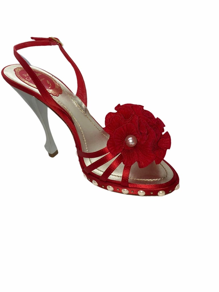 Women's NEW René Caovilla Floral Flower High Heel Sandals with Faux Pearl Trimmings  For Sale