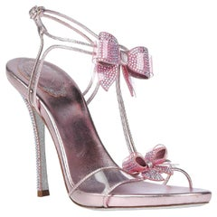 New Rene Caovilla Leather Crystal Embellished Bow Pink Sandals It 39.5 - US 9.5