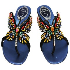 New Rene Caovilla Swarovski Crystals Butterfly Thong Sandals It.36 - US 6