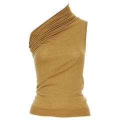 new RICK OWENS AW18 Runway mustard cashmere knit one shoulder fitted top XS