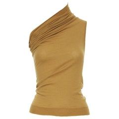 new RICK OWENS AW18 Sisyphus Runway mustard cashmere knit one shoulder top S