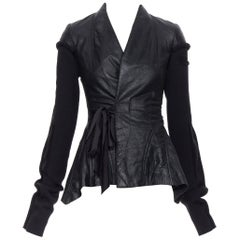 new RICK OWENS AW18 Sisyphus Wrap Princess black leather wool sleeves jacket XS