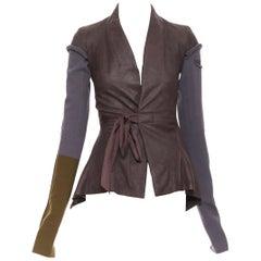 new RICK OWENS AW18 Sisyphus Wrap Princess brown leather wool sleeves jacket XS