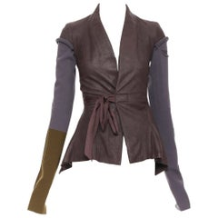 new RICK OWENS AW18 Sisyphus Wrap Princess raisin leather fitted tie jacket S