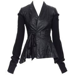 new RICK OWENS AW18 Wrap Princess black lambskin leather wool sleeves jacket XS
