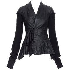 new RICK OWENS AW18 Wrap Princess black leather wool sleeves contour jacket XS