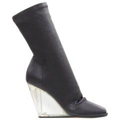 new RICK OWENS black soft leather square slit toe clear wedge sock boot EU37