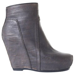 new RICK OWENS brown slashed leather classic wedge zip ankle boots EU36 US6 UK3