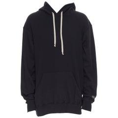 new RICK OWENS CHAMPION SS20 Tecuatl Black Pentagram oversized sweater hoodie L