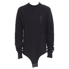 new RICK OWENS CHAMPION SS20 Tecuatl Black Pentagram Star embroidered sweater S