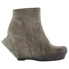 new RICK OWENS grey distressed leather angular sculpted wedge bootie heel EU40