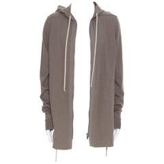 new RICK OWENS SS20 Tecualt dust grey zip front UFW print back long hoodie S