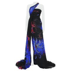 New Roberto Cavalli $6520 Silk Corset Gold Leafing One Shoulder Dress Gown 38