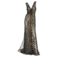 New Roberto Cavalli $6600 Silk Black Net Beaded Leopard Print Dress Gown It 44