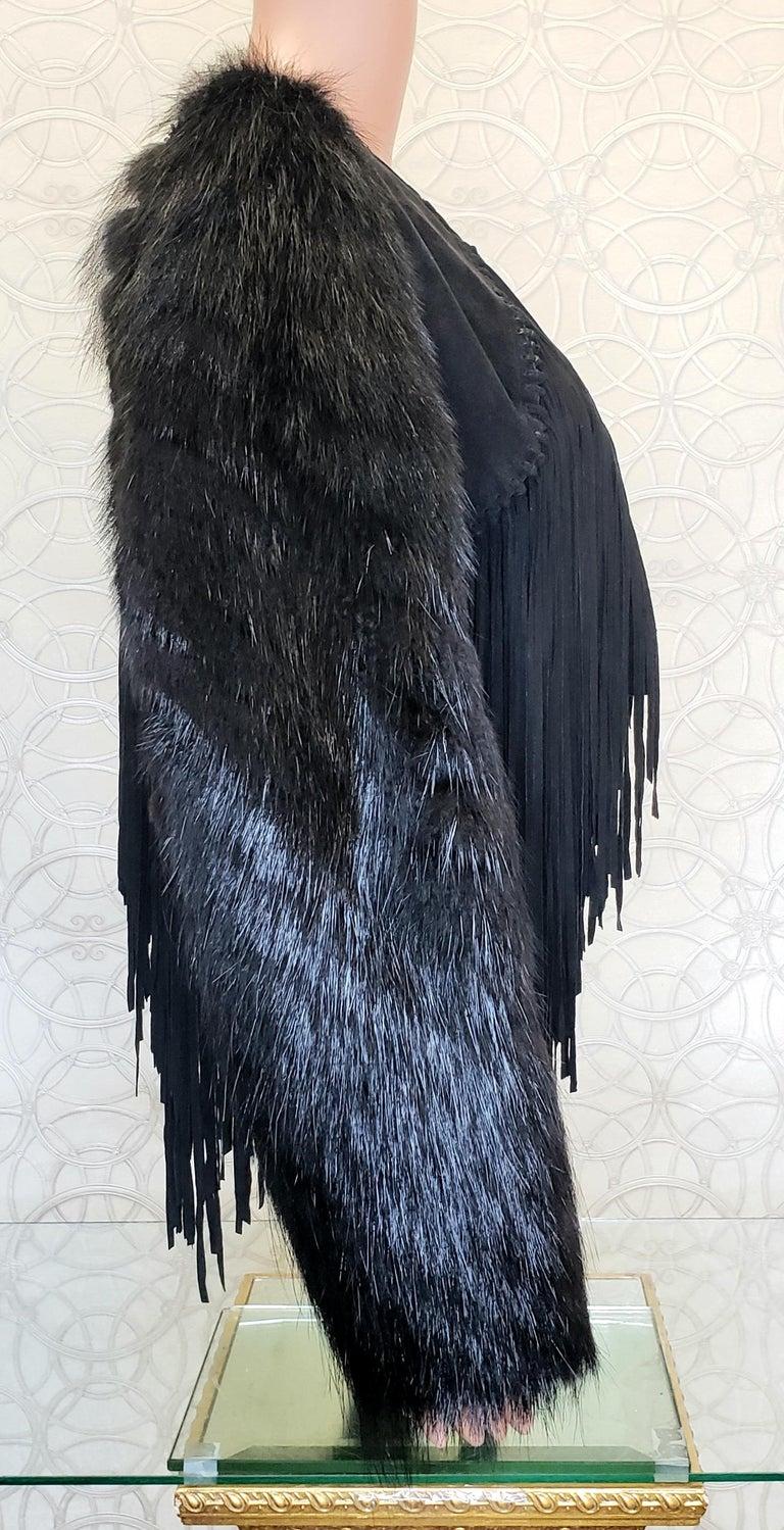 New ROBERTO CAVALLI BLACK FUR & LEATHER JACKET 40 - 6 For Sale 5