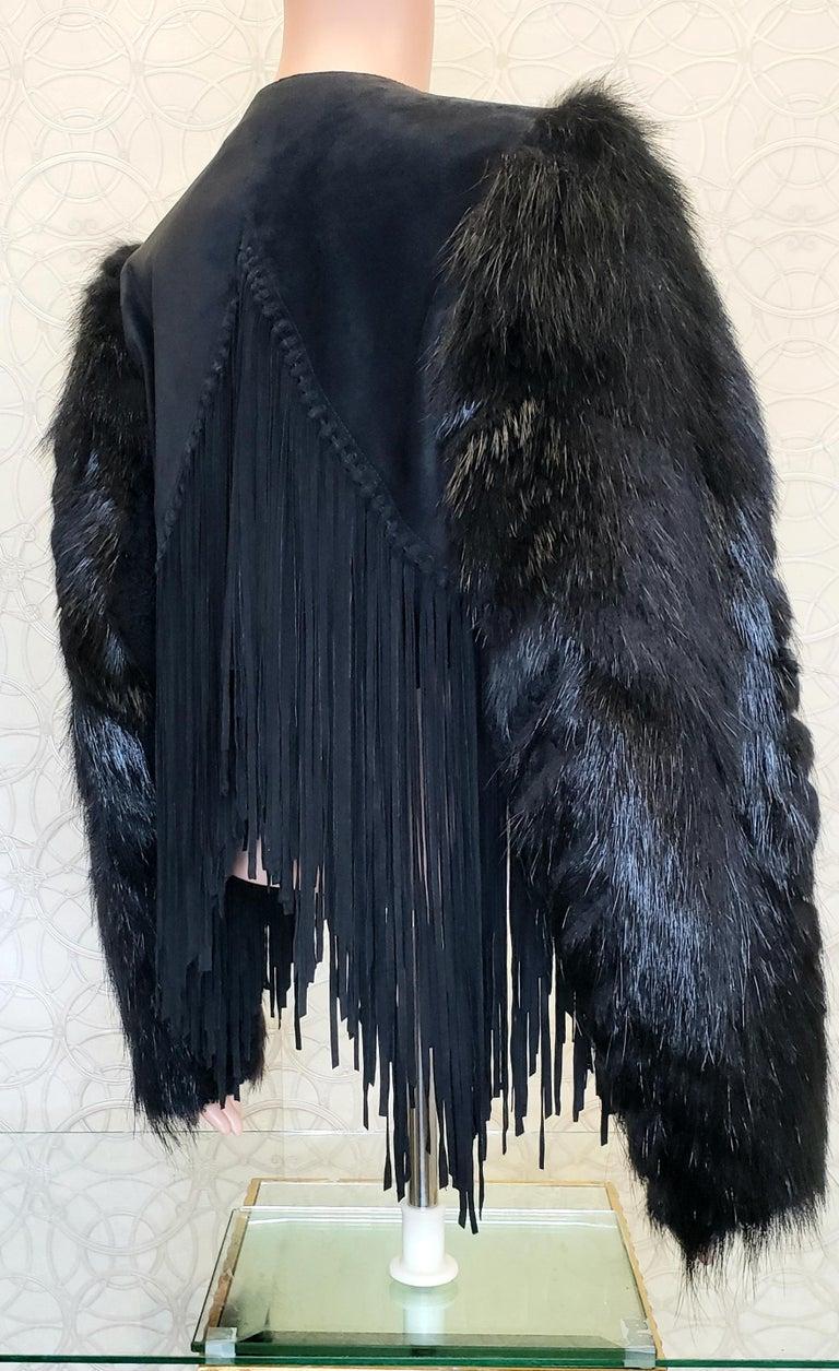 New ROBERTO CAVALLI BLACK FUR & LEATHER JACKET 40 - 6 For Sale 7