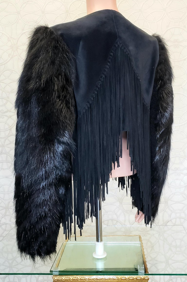New ROBERTO CAVALLI BLACK FUR & LEATHER JACKET 40 - 6 For Sale 9