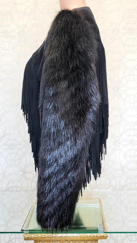 New ROBERTO CAVALLI BLACK FUR & LEATHER JACKET 40 - 6 For Sale 10